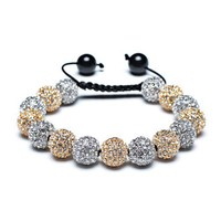 Christmas Gifts Gold Plated Shamballa Inspired Bracelet Silver Plated Alloy