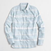 Factory petite striped flannel shirt