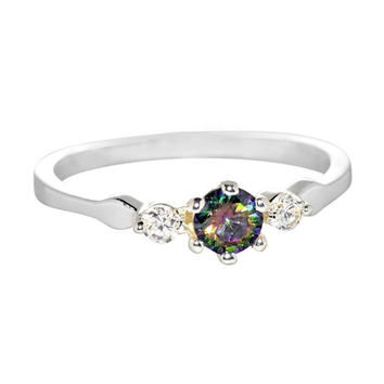Sterling Silver Ring Cubic Zirconia CZ Band Rainbow Mystic Topaz Womens