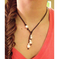 Freshwater Pearl Lariat Leather Necklace
