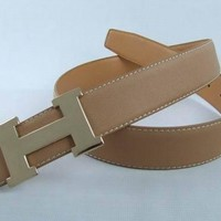Perfect Hermes Fashion Smooth Buckle Belt Leather Belt-7