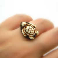 Turtle RING. To Order -Turquoise- White, Vanilla, Mocca, Ocean, Sea, Brown, Bronce, Dark, Fall, Animal, Jewelry Rings, Turquoise Jewelry