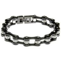 All Black Bike Chain Bracelet with Crystals