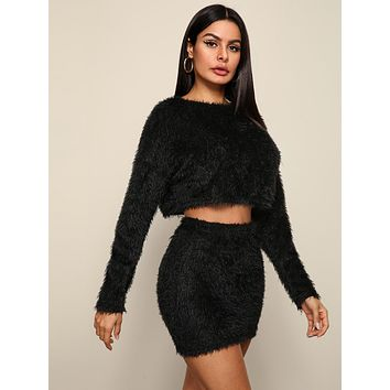 SHEIN Solid Crop Fluffy Sweater and Bodycon Skirt Set
