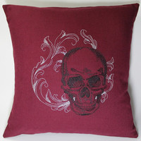 Baroque Skull Embroidered Pillow Case Cover