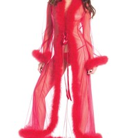 Bewicked Female Sheer Full-Length Robe With Chandelle Feather Trim. BW1650RD
