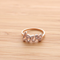 LOVE ring with crystals, in pinkgold   girlsluv.it