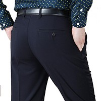 Men Suit Pants Wool Silk Thicken Work Pants Winter Business Casual Trousers Straight Classical Slim Dress Pants