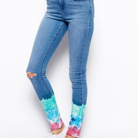 ASOS Ridley High Waist Ultra Skinny Jeans with Tie Dye Hem With Ripped
