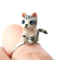 Kitty Cat Grey and Black Striped Porcelain Ceramic Animal Adjustable Ring | Handmade