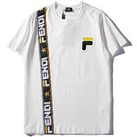 FENDI Popular Women Men Print T-Shirt Top Tee White