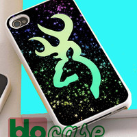 Glitter Space With Flat Browning Deer For Iphone 4/4s, iPhone 5/5s, iPhone 5C, iphone 6, and iPhone 6 Plus Case