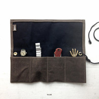 Watch organizer in waxed canvas, two toned watch collector roll - Volcano Store