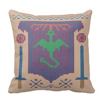 Fire Breathing Dragon Ugly Sweater Design Pillow
