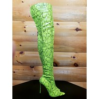 """CR Toxic Neon Lime Open Pointy Toe OTK Wide Top Thigh Boot 4.5"""" High Heel 6-11"""