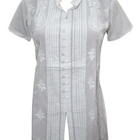 Mogul Interior Womens Top Blouse Button Front Handmade Floral Embroidered White Tunic Shirt Cover up