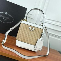 644 Prada Double Saffiano Bamboo knitting Leather Magnetic buckle Handbag 23-13-22 white