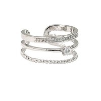 simple layer silver crystal ring