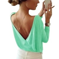 Candy Color Women T-Shirts Sexy Casual Girls Summer Top Sexy Open Back Deep V T Shirts Long Sleeve Girls Tee Shirts Female GV566