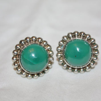 Vintage Sterling Jade Earrings, Jade Earrings, Mexico Jade Earrings, 1960s Jewelry