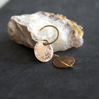 Rust Brown Brass Patina Dangle Drop Earrings Crater Textured Round Circle Red Planet Handmade Fashion Jewellery
