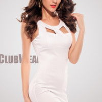 Chest Hollow-Out Crew Neckline White Dress