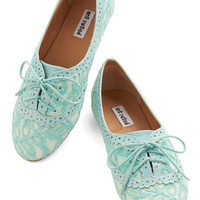 ModCloth Pastel Joined at the Skip Flat in Aqua