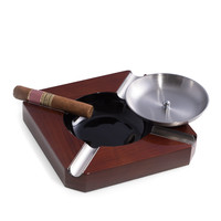 Cigar Ashtray in Stainless Steel & Walnut Wood