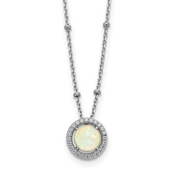 Sterling Silver White Created Opal & CZ Halo Beaded Necklace