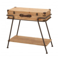 Wood Trunk Industrial Accent Table