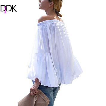 DIDK Womens Blouses for Spring Summer Ladies 2016 Hot New White Boat Neck Long Flare Sleeve Lace High Low Loose Blouse