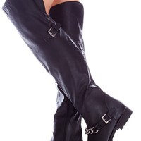 BLACK FAUX LEATHER SIDE ZIPPER CHAIN ACCENT OVER THE KNEE BOOTS