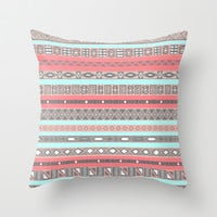 Peach Rose Baby Blue Aztec Tribal Native Pattern Throw Pillow by RexLambo