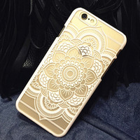 White Hollow Out Lace Case Cover for iphone 5s 6 6s Plus Gift 177