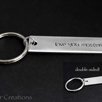 Love You Mosterest Double Sided Keychain with Custom Name and Anniversary Year or Date, Hand Stamped Aluminum Bar Keychain for Couples