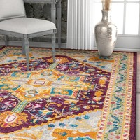 2929 Purple Vintage Medallion Persian Area Rugs