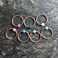 16g (1mm) Opal Stone ROSEGOLD Plated CBR (BCR) Captive Bead Ring Earring Cartilage Piercing Jewelry