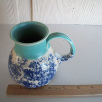 Vintage Coffee Mug  Ceramic Art Pottery 1970s Blue And White With Feet On Bottom 4.5 Inches Tall X 4.5 Wide Including Handle