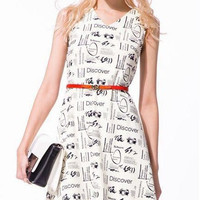 Letter Print V-Neck Sleeveless Dress