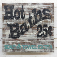 Rustic shabby chic Hot Bath sign barnwood distressed home decor cottage wall hanging reclaimed antique vintage wood decoration gift
