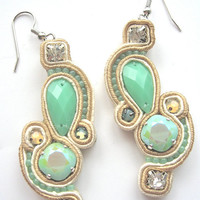 MINTS bridal soutache earrings in mint and ivory with Swarovski crystals