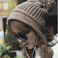 Cute unicorn Winter Fur Pom poms Kintted Warm Beanie new thick Hats with Ears Women Ladies Girls female cap With Ball