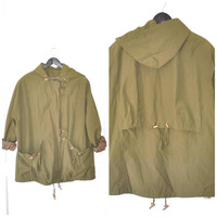 army green MINIMALIST windbreaker / cinched waist MILITARY style relaxed fit anorak long jacket/ small large