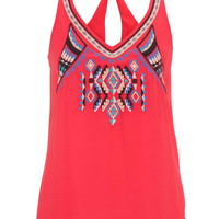 Embroidered Ethnic Front Chiffon Tank - Watermelon