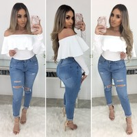 Nadia Off Shoulder Top (White)