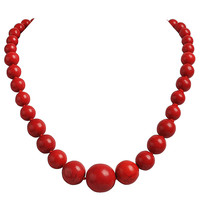 Red Bead Turquoise Necklace