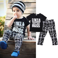 Casual Baby Boy Summer Clothes Short Sleeve Tee Tops+Pants 2pcs Set Outfits 1-5Y