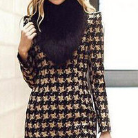 Black Long Sleeve Geometric Print Winter Mini Dress