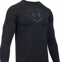 Under Armour Men's Training Long Sleeve Baseball Shirt - RED/NAVY/BLACK - XL/L/M