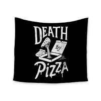 """Tatak Waskitho """"Death By Pizza"""" Food Black Wall Tapestry"""